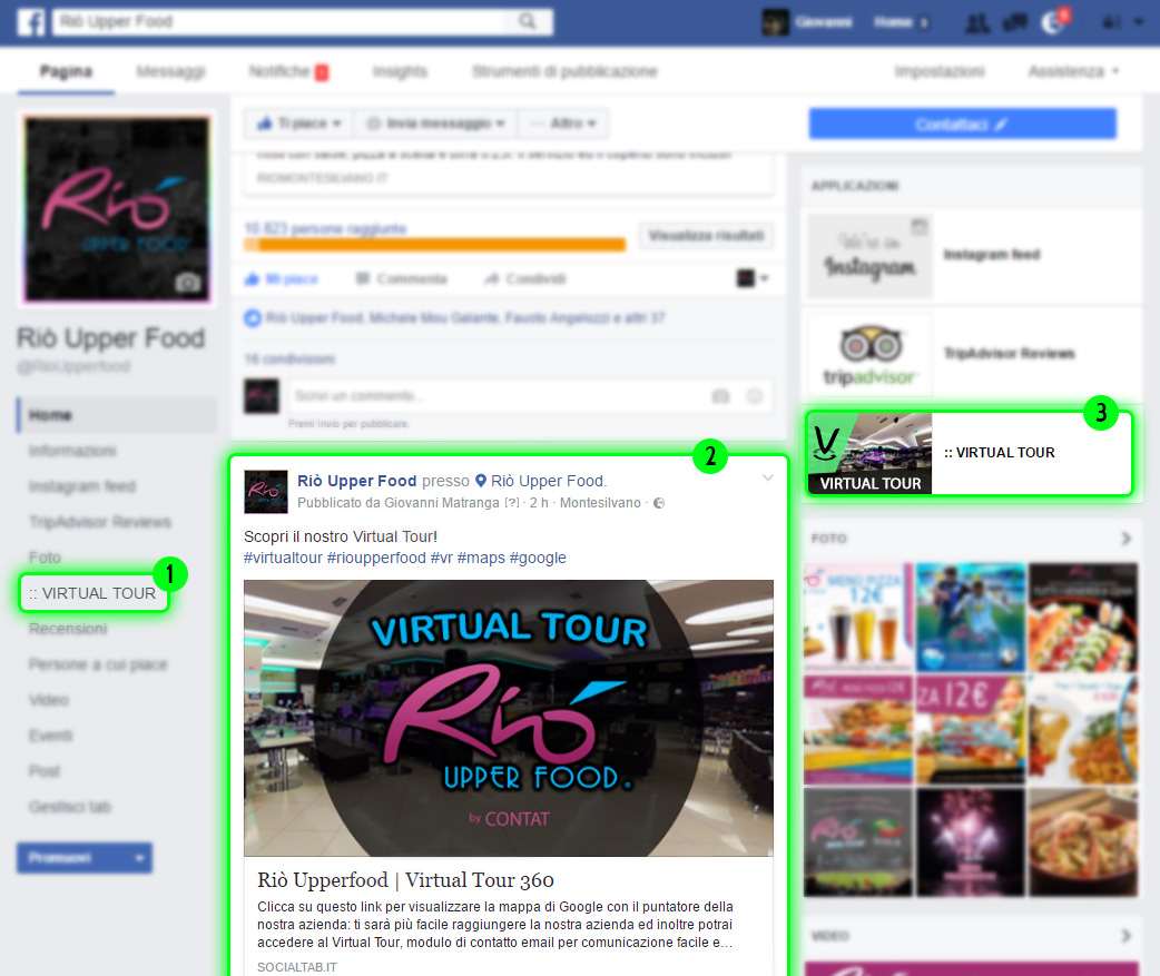 inserimento virtual tour su tab facebook